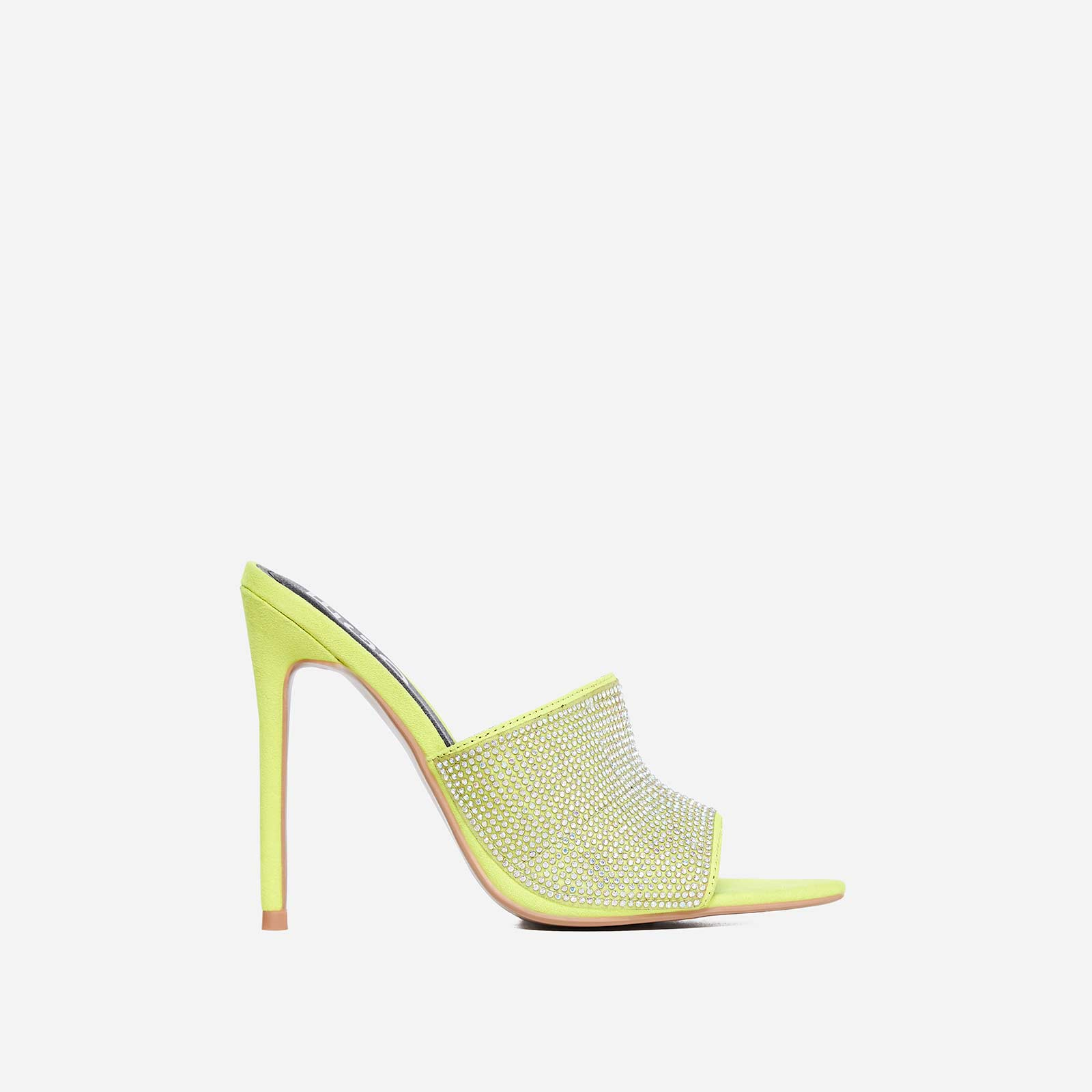 Tiffany Diamante Pointed Peep Toe Mule In Lime Green Faux Suede
