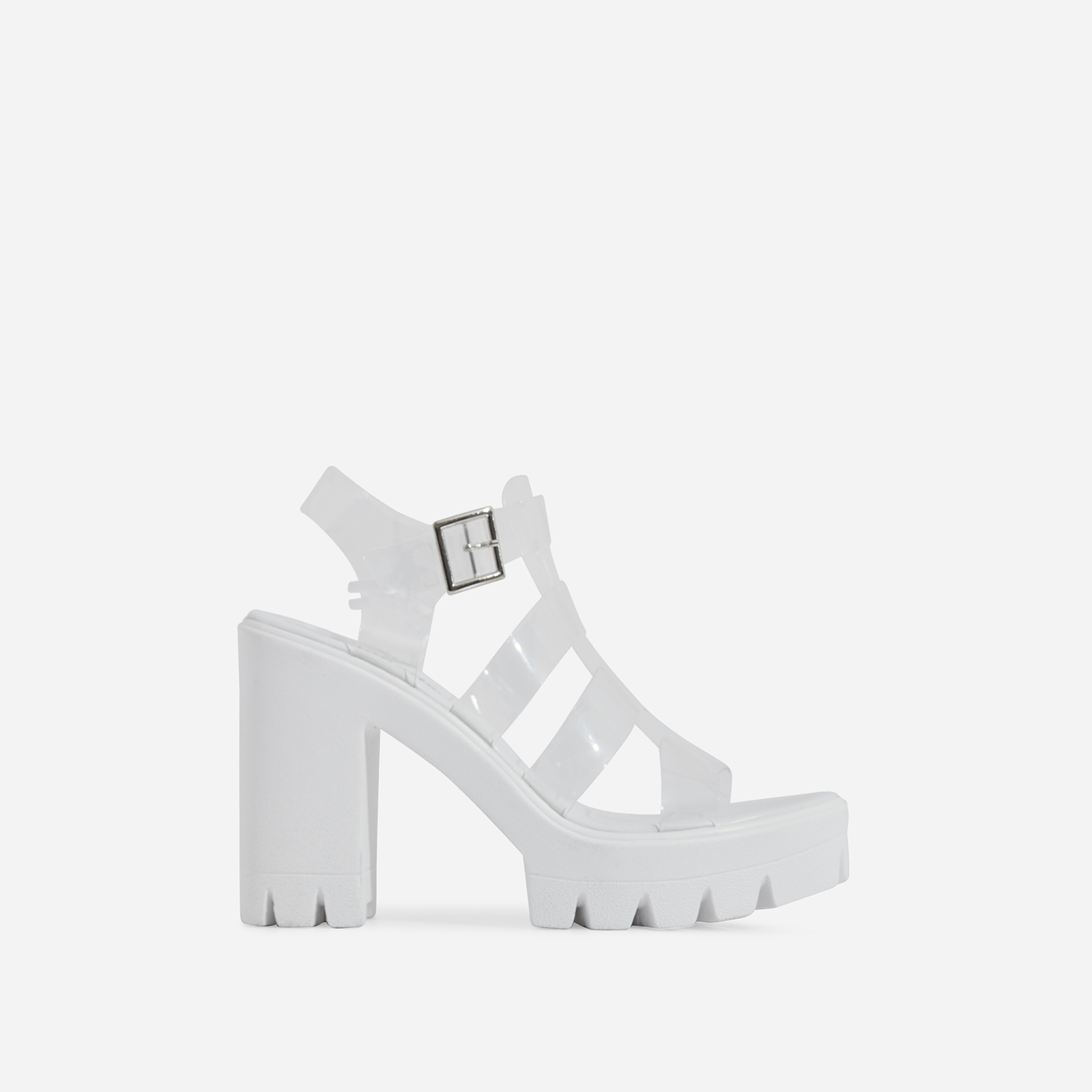 Toffee Perspex Platform Block Heel In White