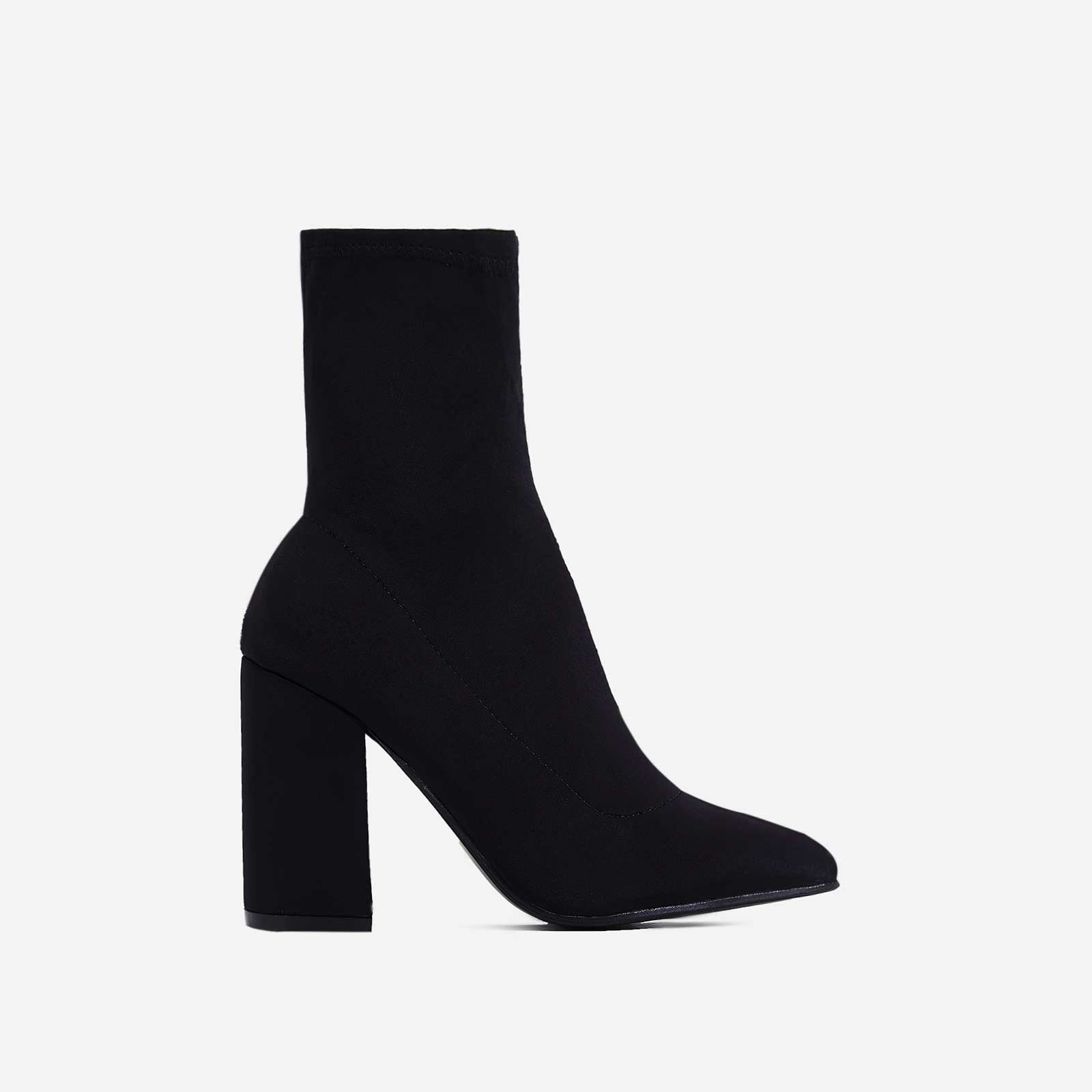 Zana Block Heel Sock Boot In Black Lycra