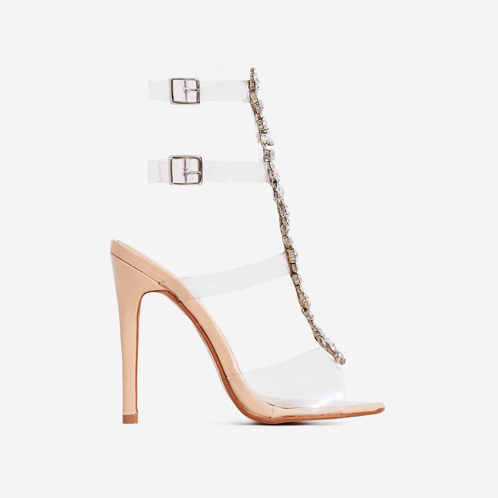 Belfonte Jewel Embellished Perspex Heel In Nude Patent