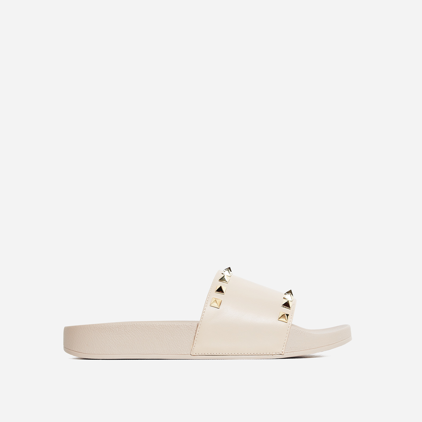 Tyga Studded Detail Slider In Nude Rubber
