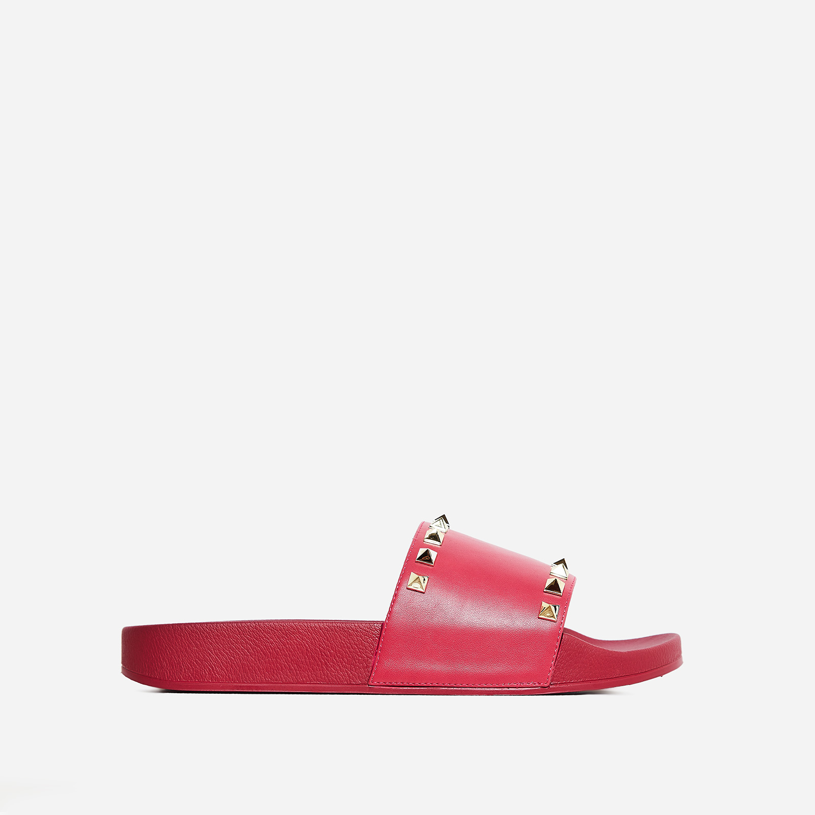 Tyga Studded Detail Slider In Pink Rubber