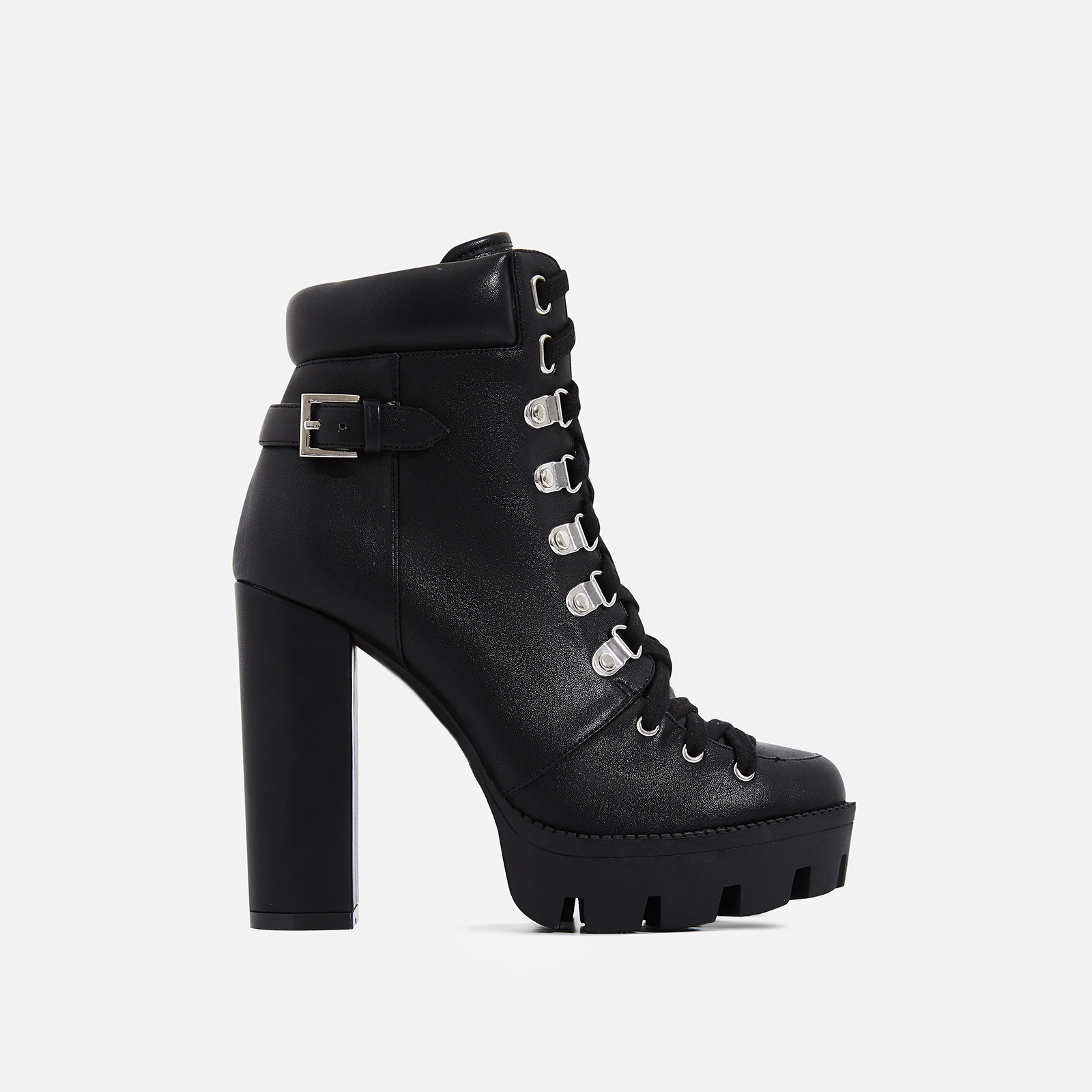 Veera Platform Ankle Biker Boot In Black Faux Leather