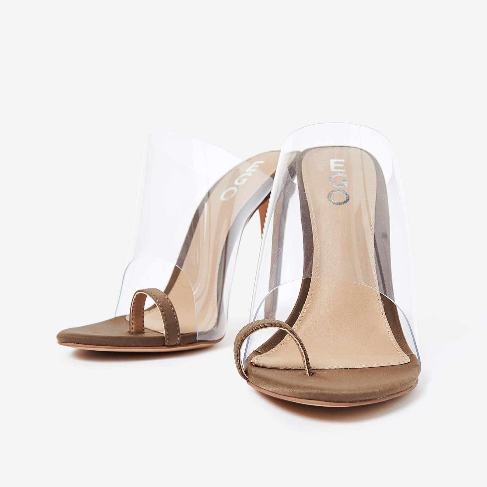 Shape Toe Strap Perspex Mule In Khaki Lycra