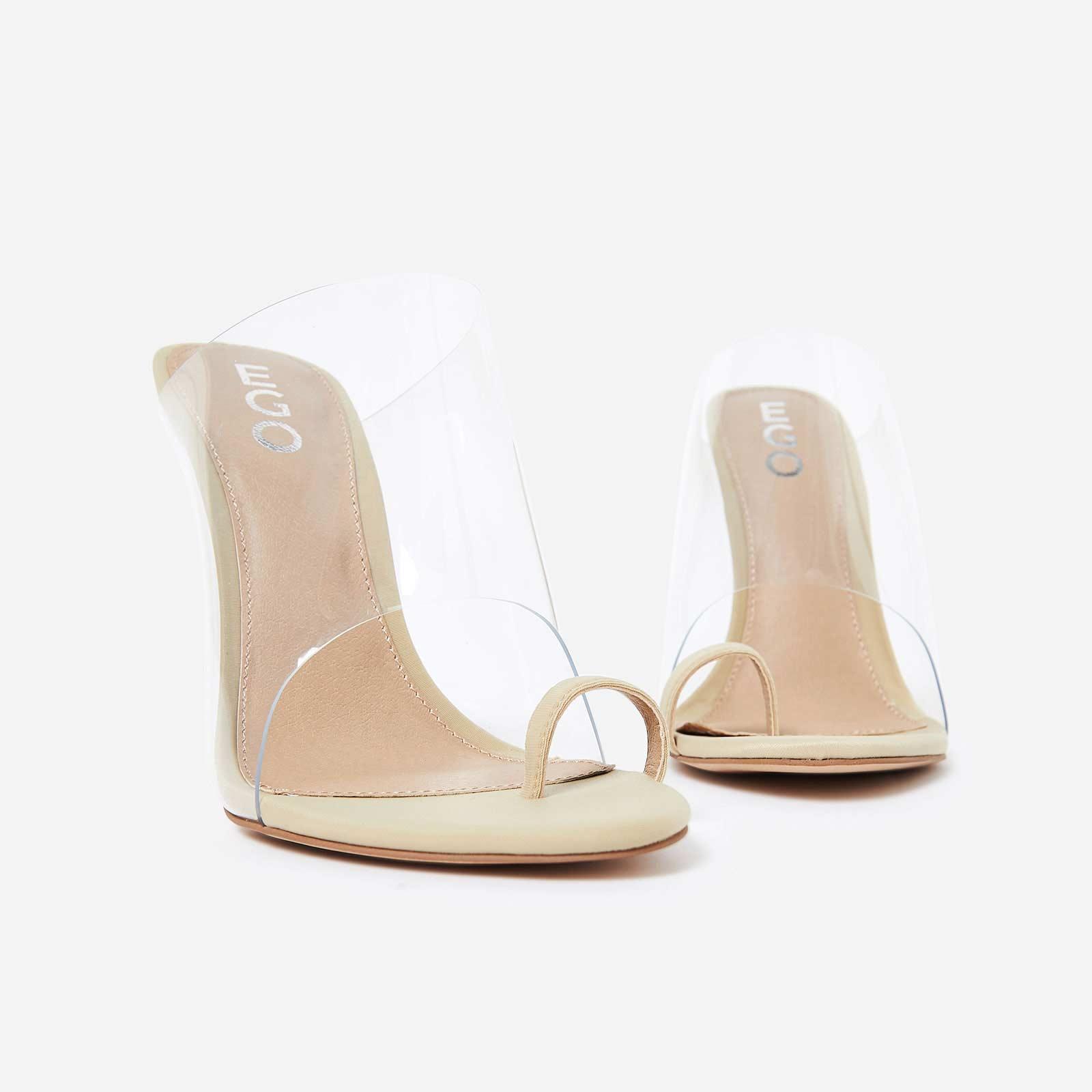 Shape Toe Strap Perspex Mule In Nude Lycra