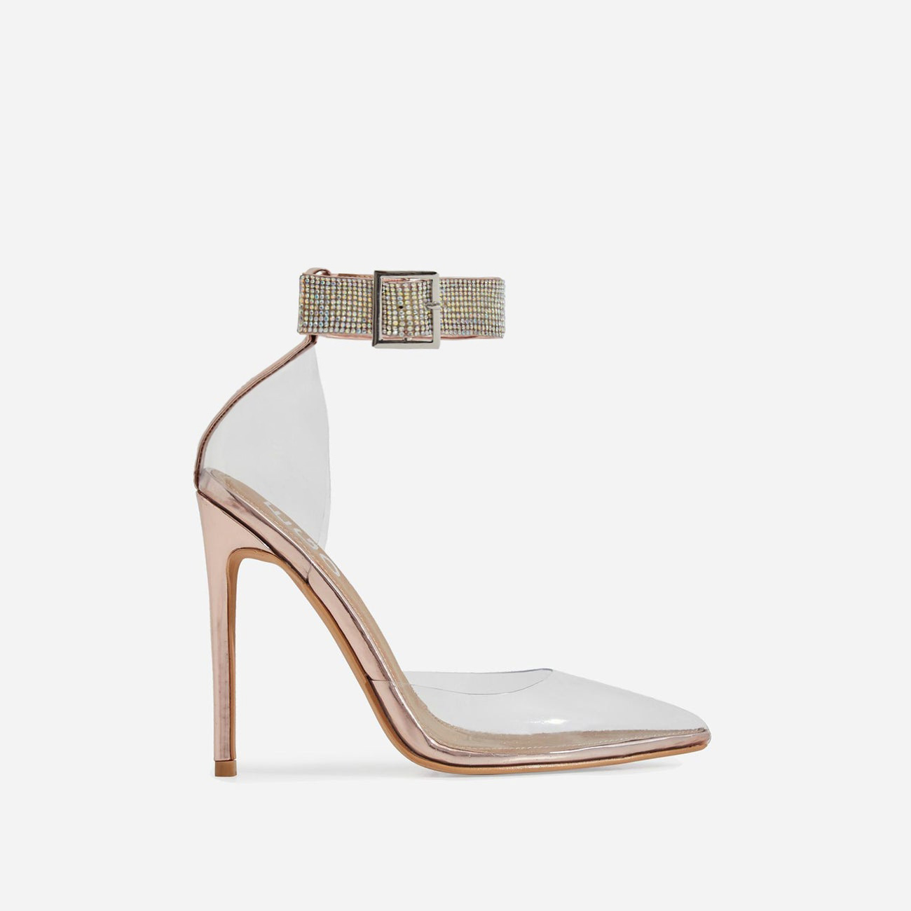 VIP Diamante Detail Strap Perspex Heel In Rose Gold Patent