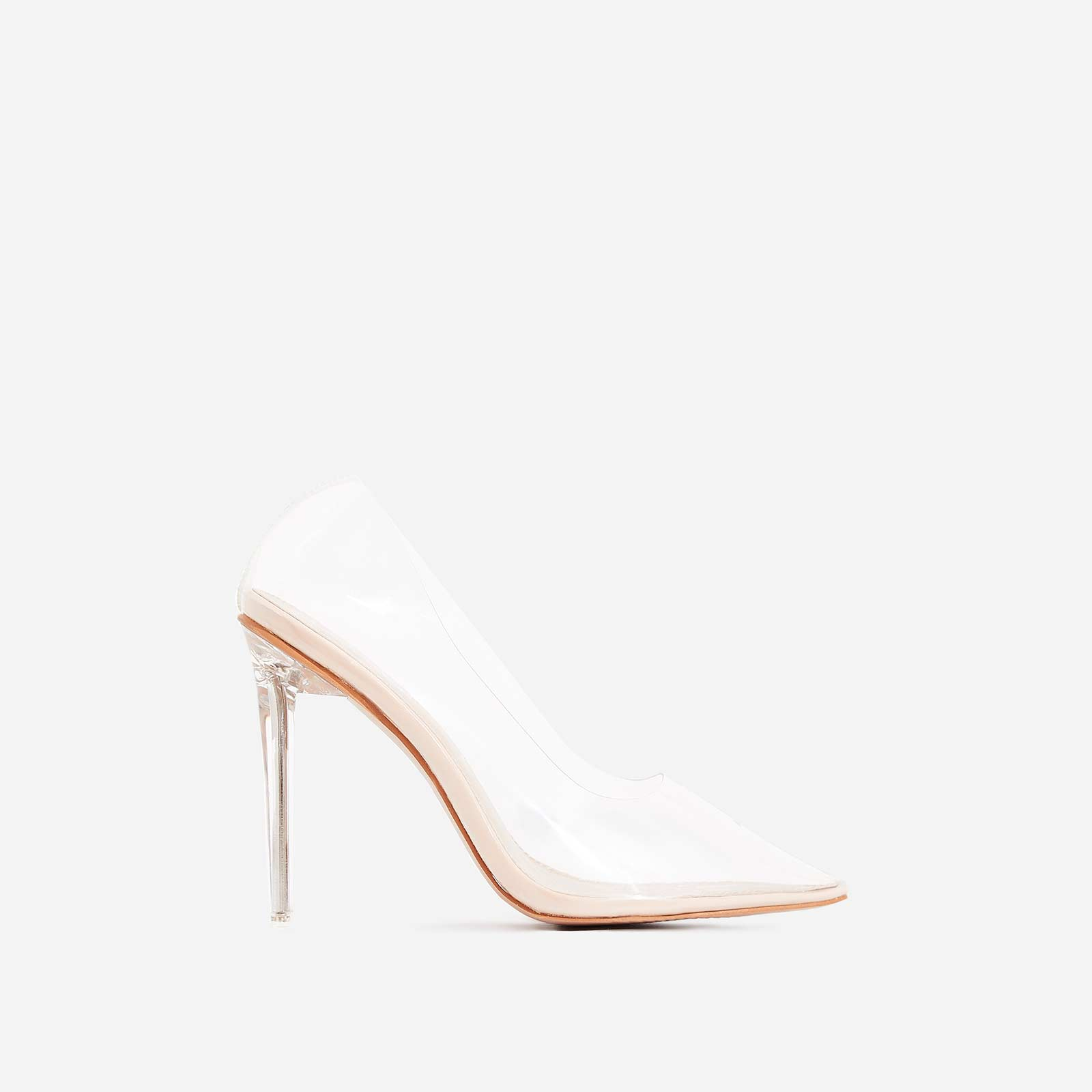 Virginia Perspex Court Heel In Nude Patent