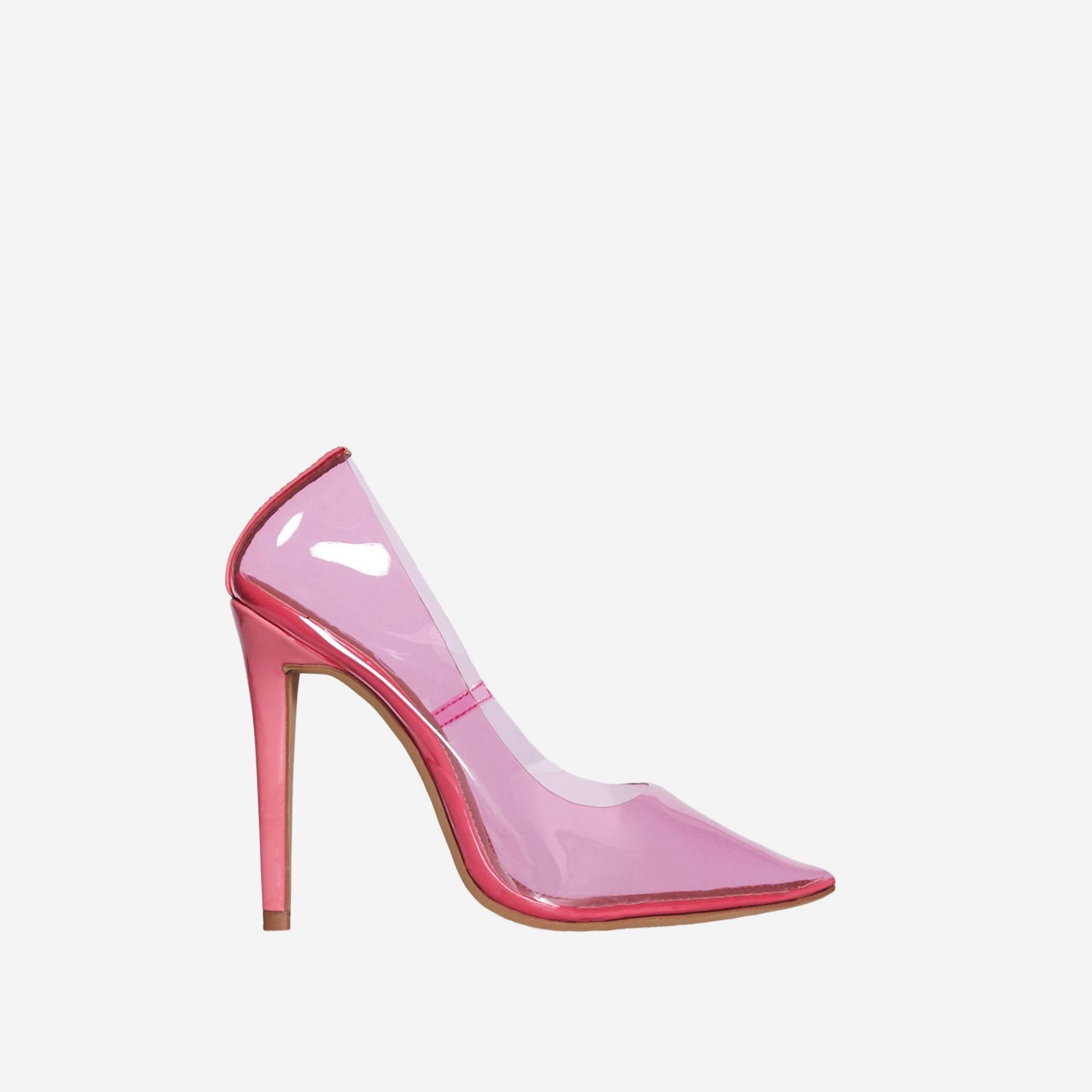 Virginia Perspex Court Heel In Pink Patent