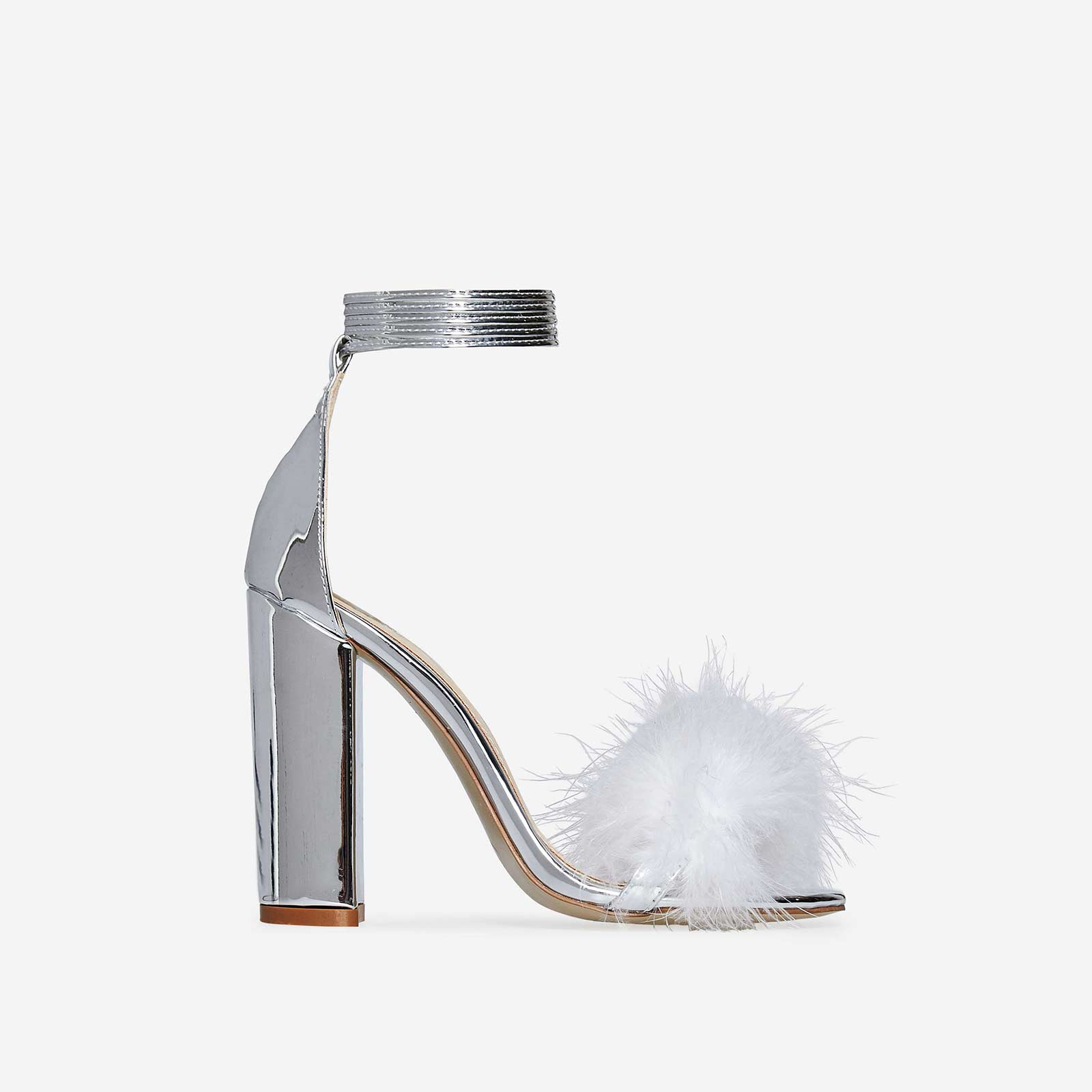 Vision Lace Up Fluffy Heel In Metallic Silver Faux Leather