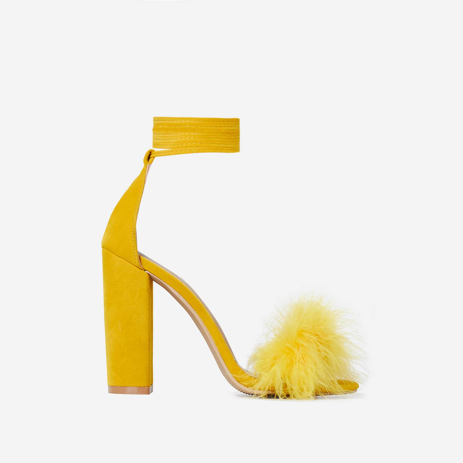 Vision Lace Up Fluffy Heel In Yellow Faux Suede