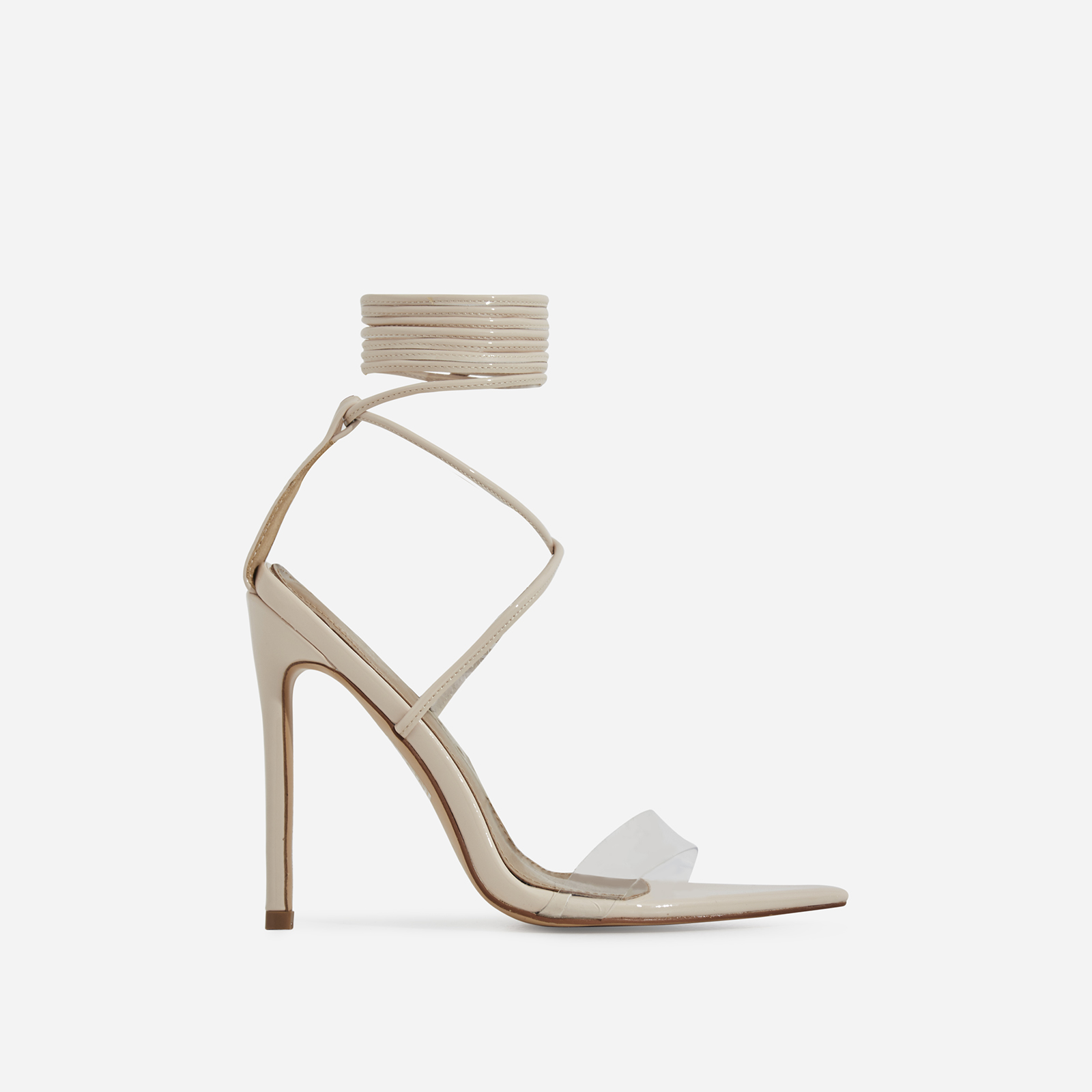 Wavey Lace Up Pointed Perspex Heel In Nude Patent