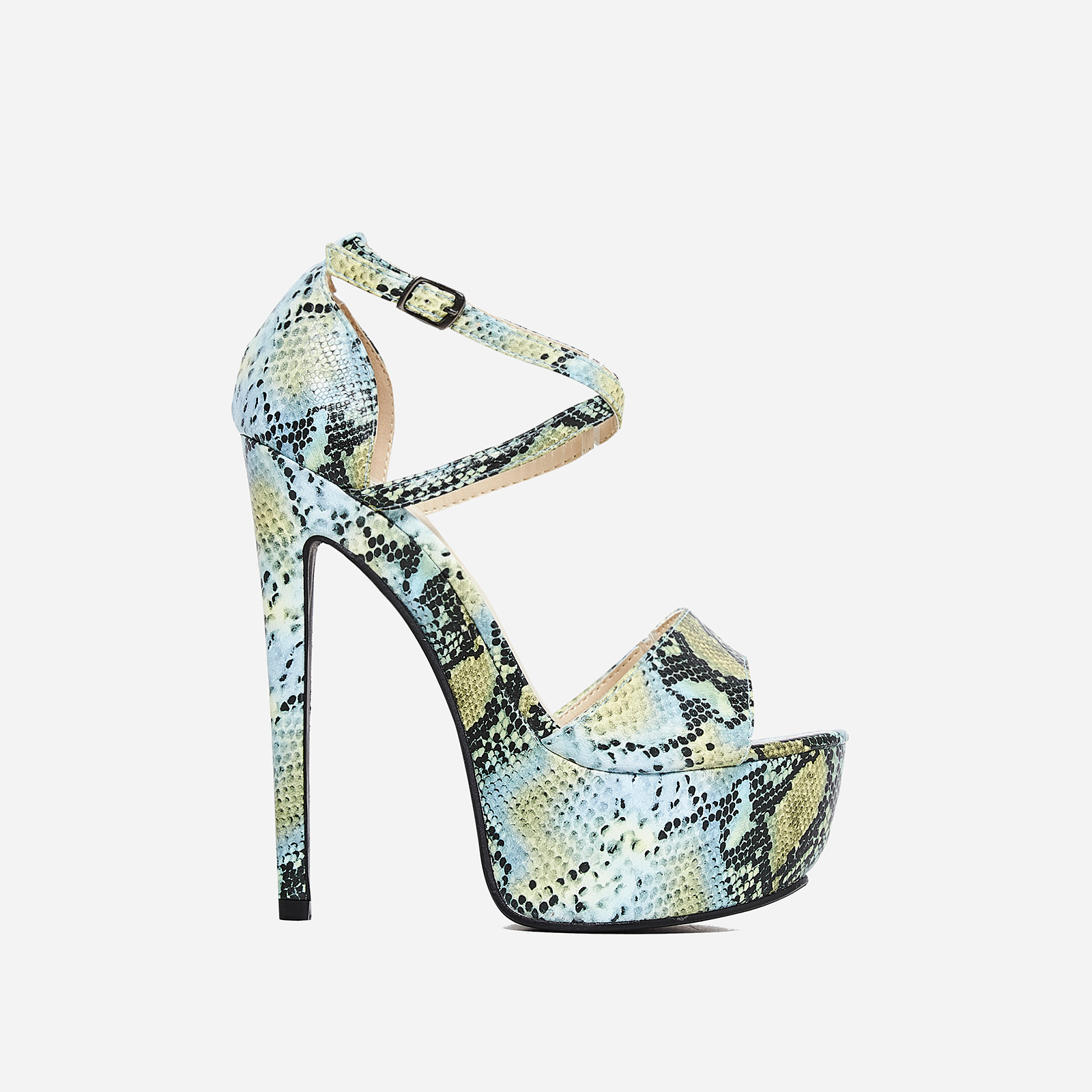 Boa Platform Heel In Green Snake Print Faux Leather