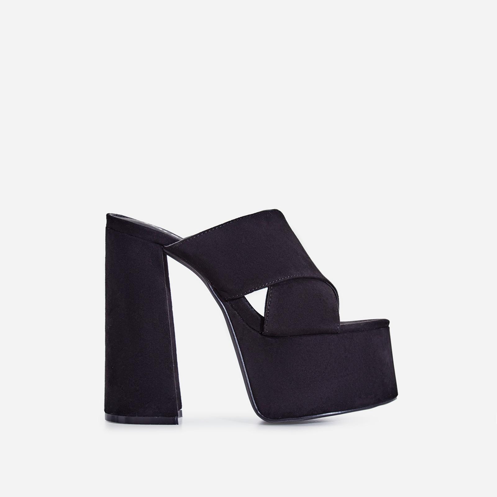 Yaya Platform Peep Toe Mule In Black Faux Suede