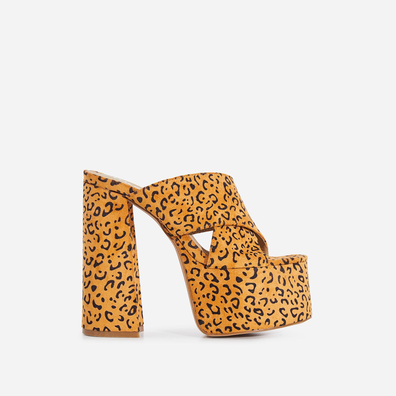 Yaya Platform Peep Toe Mule In Leopard Print Faux Suede