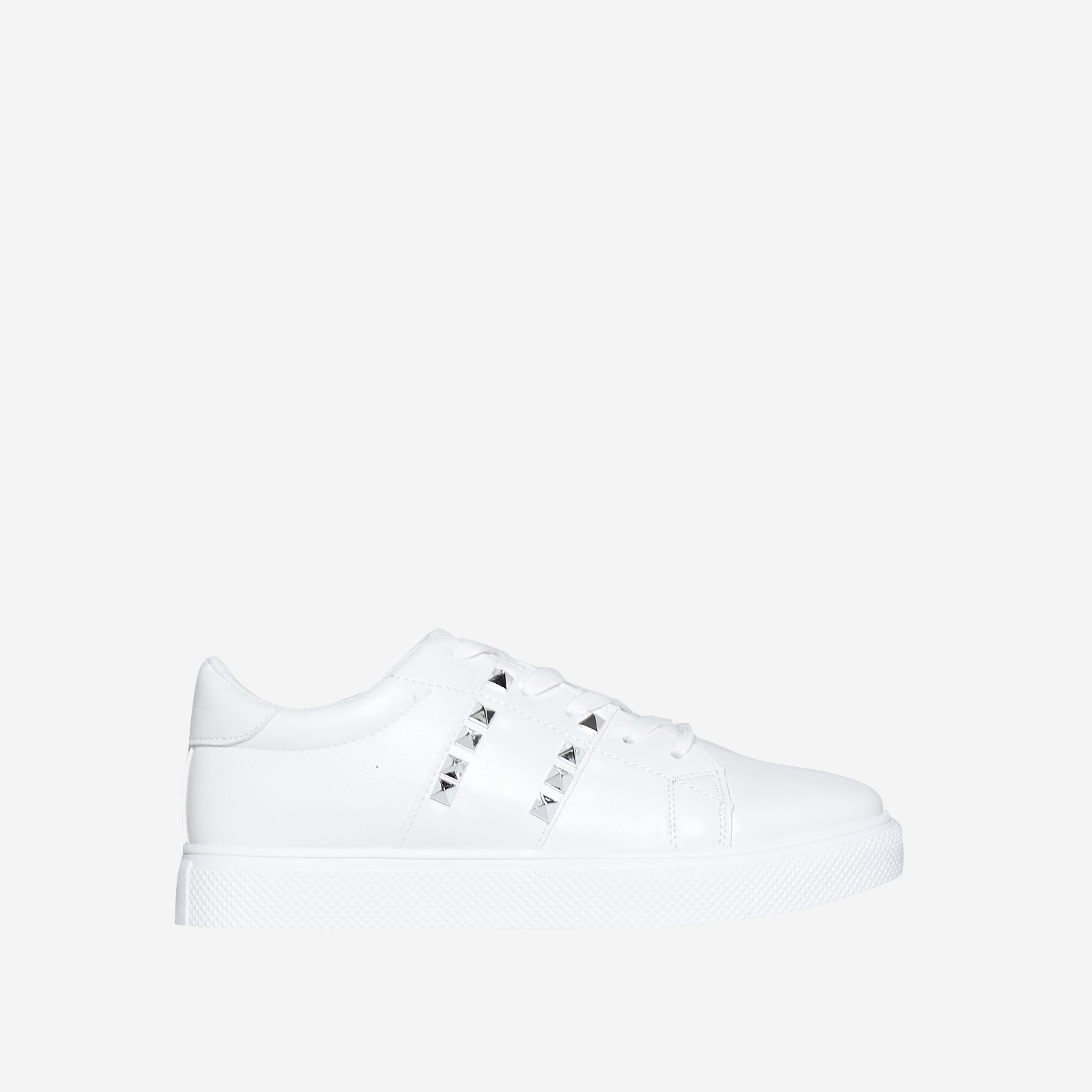 Dexter Studded Detail Trainer In White Faux Leather
