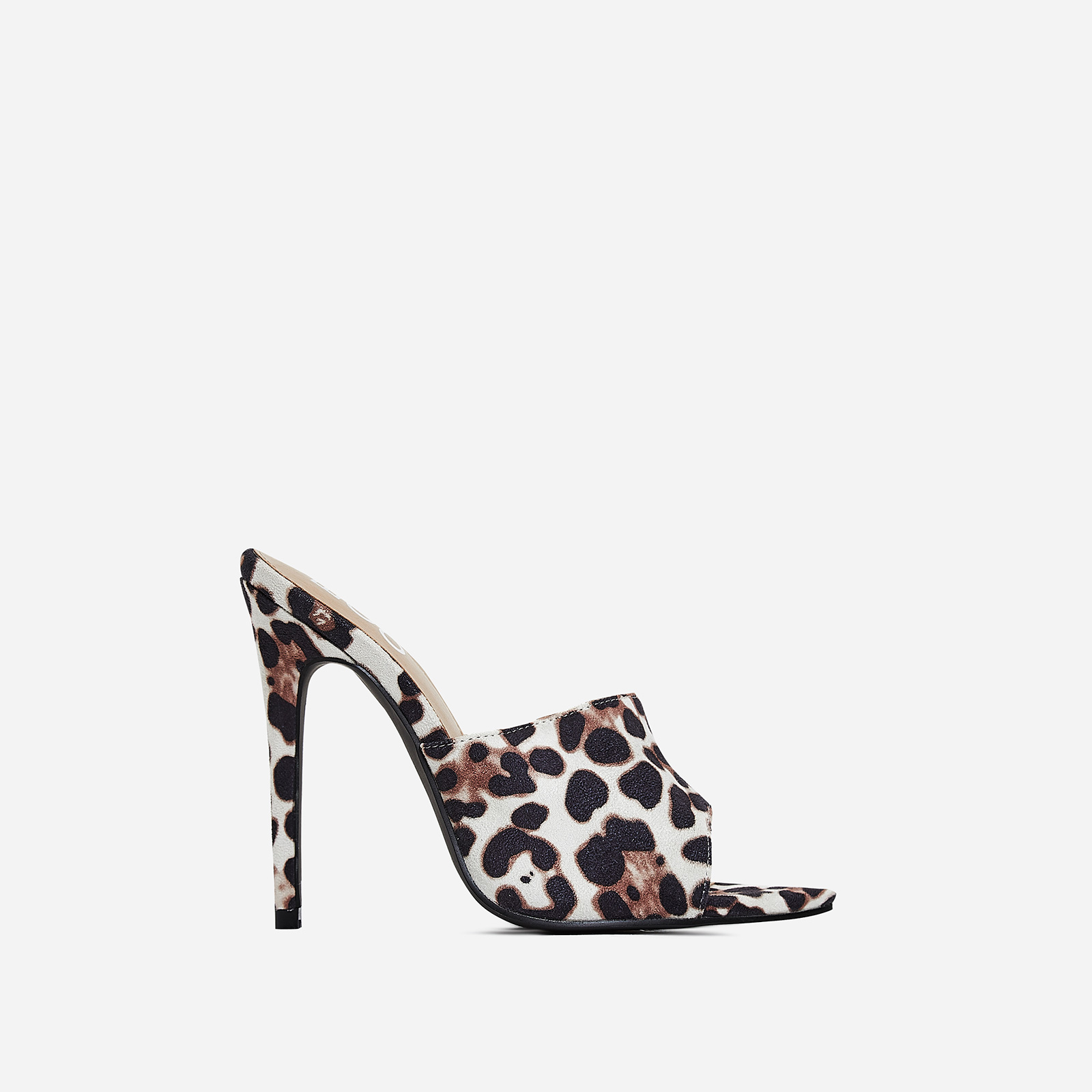 Zadie Pointed Peep Toe Heel Mule In White Leopard Print Faux Suede