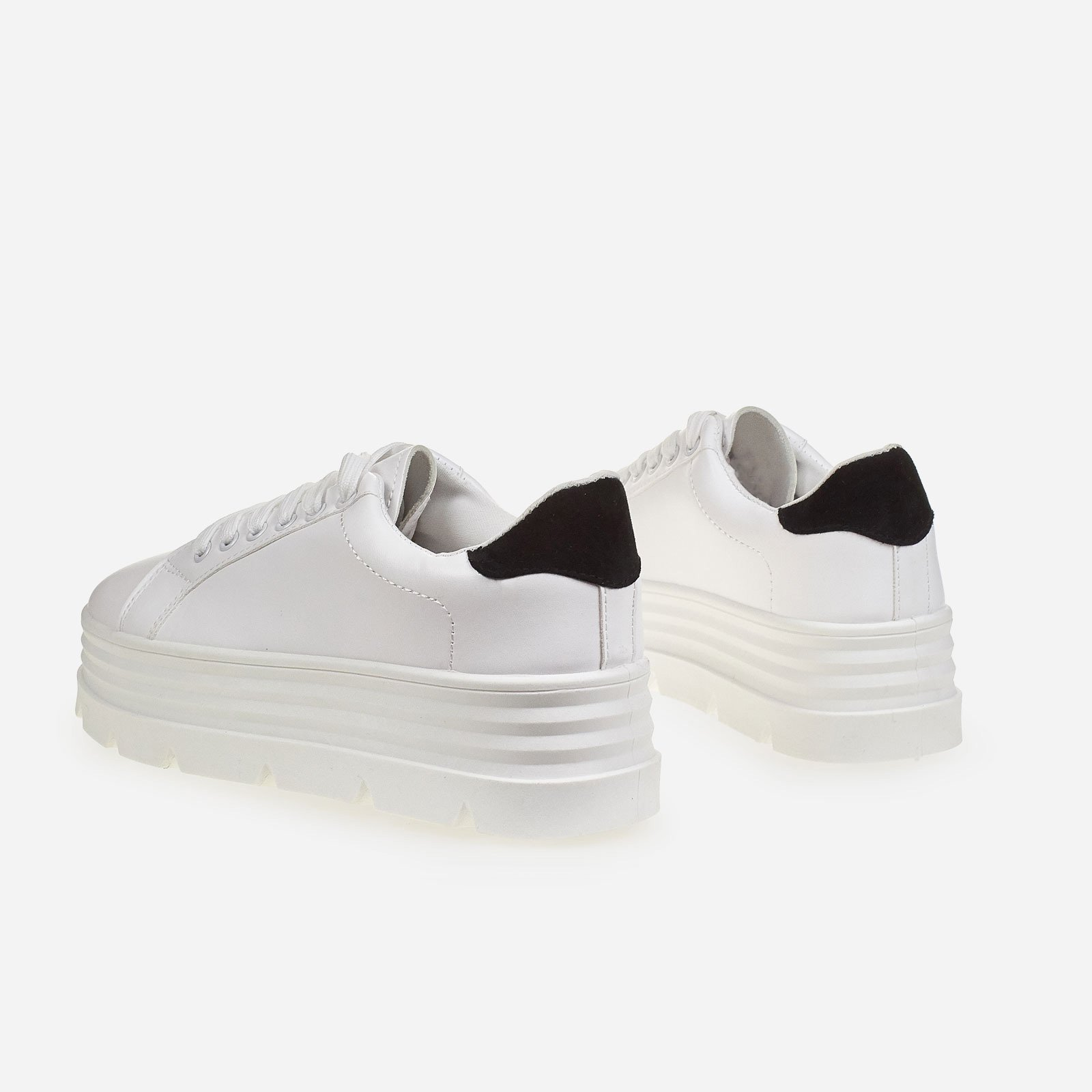 Fierce Black Heel Tab Platform Trainer In White Faux Leather