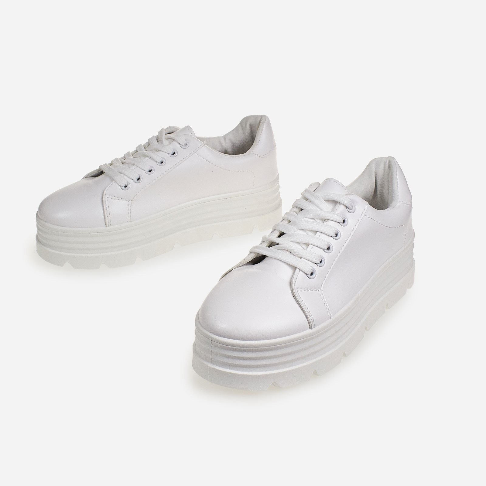 Fierce Platform Trainer In White Faux Leather