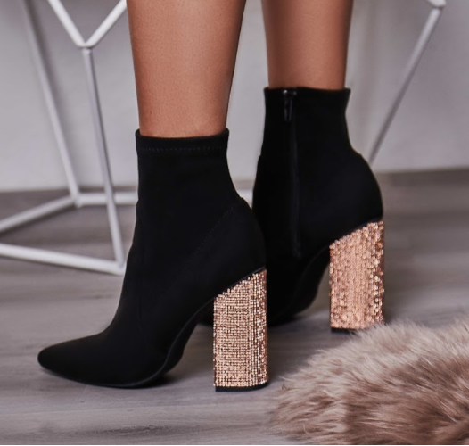 Dixie Gold Diamante Heel Ankle Boot in Faux Suede £39.99