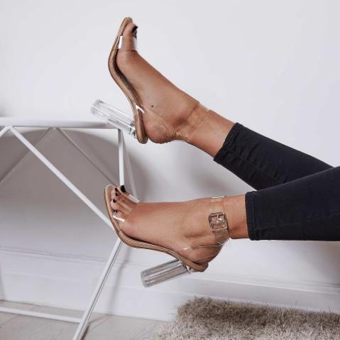 Mara Perpex Heel in Nude Faux Suede £19.99