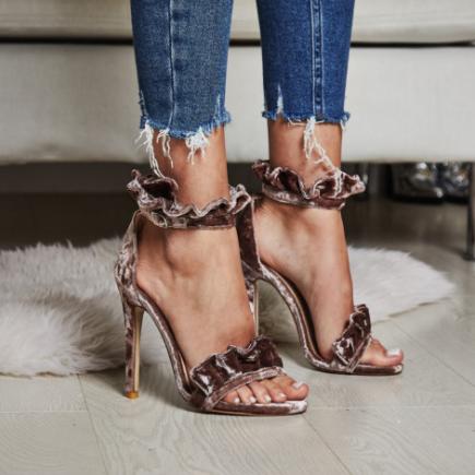 Florence Frill Detail Heel in Mink Velvet £29.99