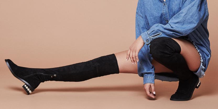 Nisha Long Boots Pearl Heels