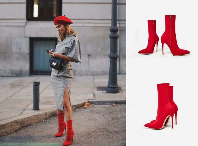 Fiona Pointed Toe Ankle Boot In Red Lycra