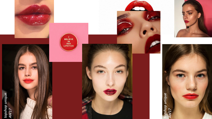 aw17 beauty trends blood stained red gloss lip