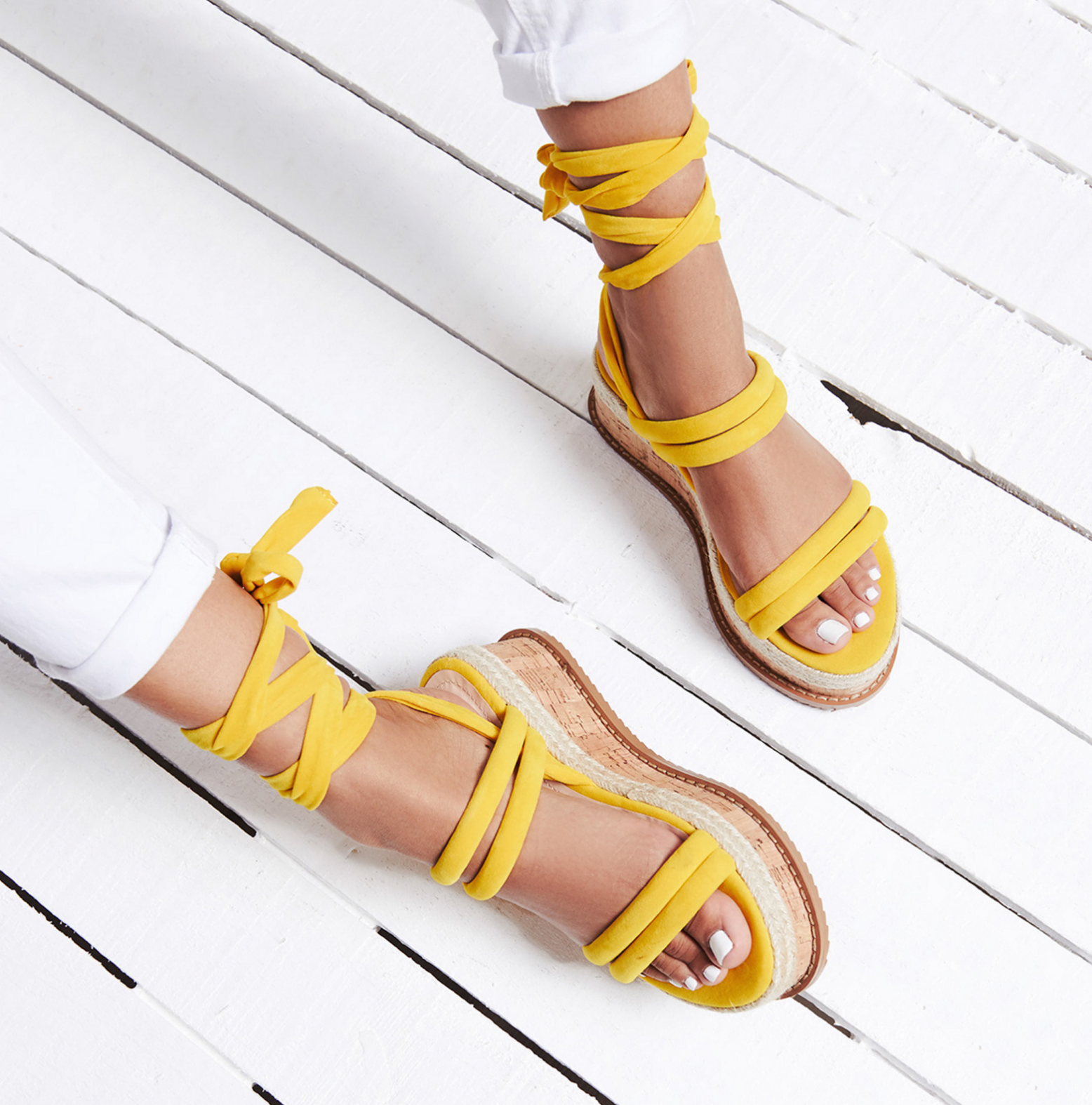 Whisper Yellow Lace Up Detail Flatform Espadrille