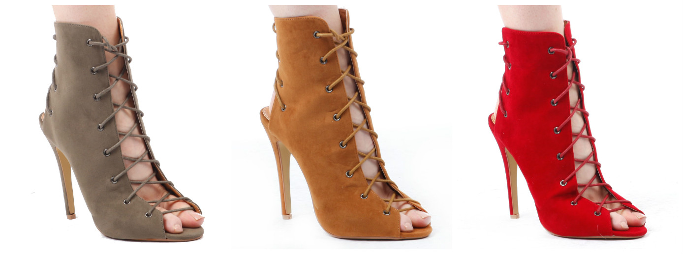 Makaila lace up ankle boot with peep toe