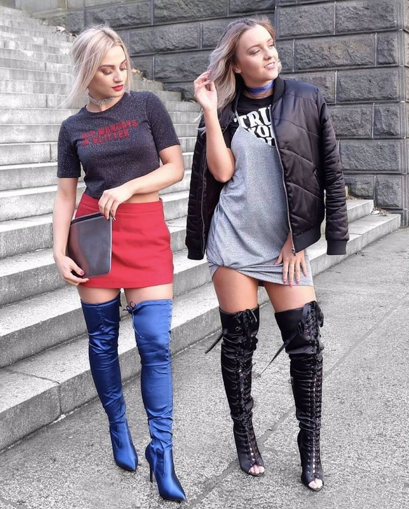 Poppy Blue Satin Long Boot and Hailey Black Satin Lace Up Long Boot EGO @twoblondesoneblog