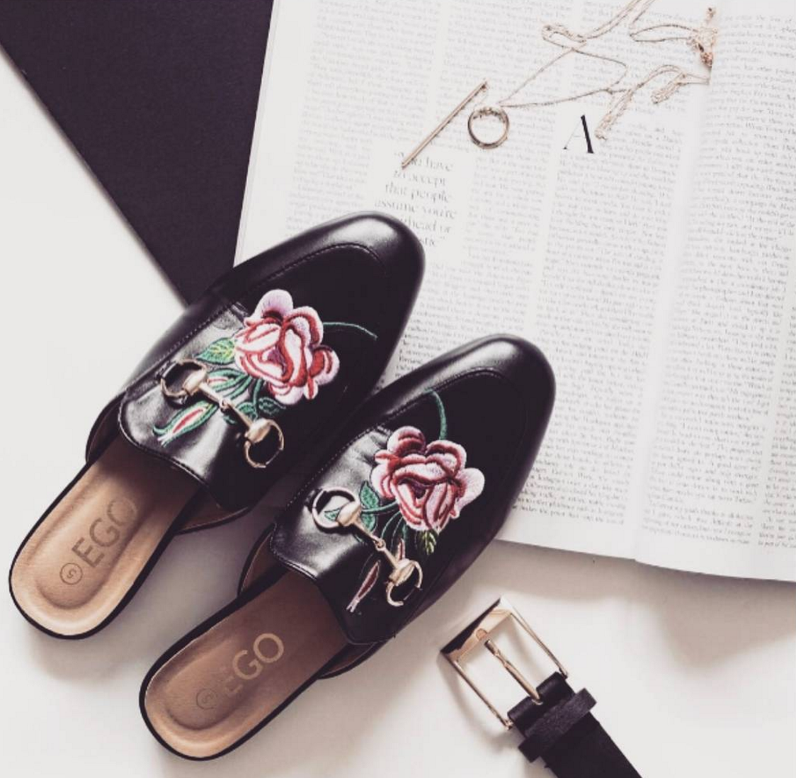 Cheska Floral Embroidered Flat Mule In Faux Leather @phasesofrobyn