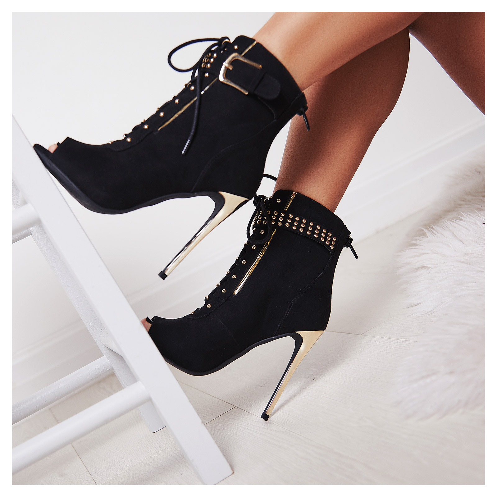 Zanna Peep Toe Lace Up Boot
