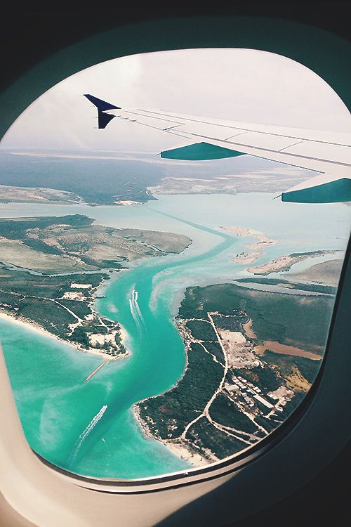 amazing view over sea from plane