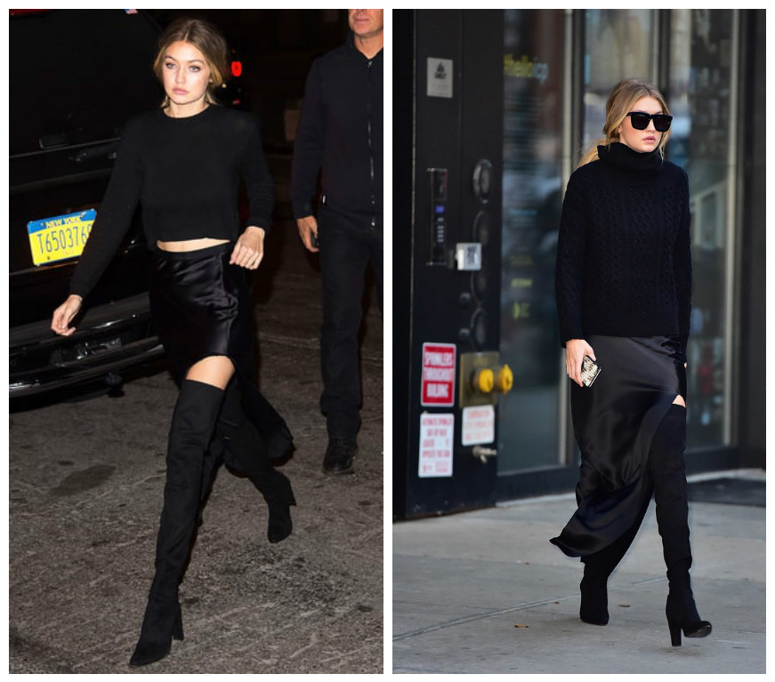 gigi wears over the knee boots, Copy in our Parkers